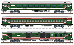 "IMPORTANT: EDITORIAL USE ONLY! Vector image in high resolution 300 DPI of Indian passenger cars ""Linke Hofmann Busch"" – AC Sleeper, Non AC Chair Car and AC Chair Car in green livery with red-white stripes of Bangladesh Railway. Isolated objects over white background."