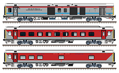 "IMPORTANT: EDITORIAL USE ONLY! Vector image in high resolution 300 DPI of Indian passenger cars ""Linke Hofmann Busch"" – AC Three Tier, AC Hot Buffet and AC Two Tier in red-gray livery of South Eastern Railway. This modern coaches are used like a rolling stock of Air-conditioned Superfast train by route Santragachi-Chennai. Isolated objects over white background."