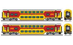 "IMPORTANT: EDITORIAL USE ONLY! Vector illustration with side view of huge passenger Indian chair car fitted with German technology chassis  ""Linke Hofmann Busch"" - LHB. Air-conditioned (AC) coach in yellow-red livery. This wagon was produced at the Rail Coach Factory at Kapurthala in Indian state of the Punjab. Realistic color drawing with many details - CBC ""H"" type tight lock coupler, FIAT bogies, intermediate tank bio toilets, brake equipment, battery box, electrical cubical, ventilation, destination board, numbers with of seating positions, Indian Railways white logo, technical inscriptions and others. Isolated objects over white background."