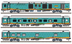 "IMPORTANT: EDITORIAL USE ONLY! Vector image in high resolution 300 DPI of Indian passenger cars ""Linke Hofmann Busch"" – AC (Air-Conditioned) Three Tier used like a rolling stock of express train Humsafar. Side views. Isolated objects over white background."