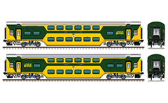 "Vector illustration with side and front view of huge passenger Indian chair car fitted with German technology chassis  ""Linke Hofmann Busch"" - LHB. Air-conditioned (AC) coach in yellow-green livery. This wagon was produced at the Rail Coach Factory at Kapurthala in Indian state of the Punjab. Realistic color drawing with many details - CBC ""H"" type tight lock coupler, FIAT bogies, intermediate tank bio toilets, brake equipment, battery box, electrical cubical, ventilation, destination board Bangalore city-Chennai Express, numbers with of seating positions, white logo of Indian Railways , technical inscriptions and others. Isolated objects over white background. EDITORIAL USE ONLY!"