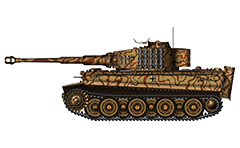 "Vector illustration with side view of heavy German tank  PzKpfw VI Tiger I Ausf. E from WW2 used by Lieutenant Richard von Rosen Commander from Schwere Panzer Abteilung 503 3/kompanie in Normandy 1944, shortly after beginning of the D-day. On turret with black digits in white conturs is painted a tactical number ""311"" of the machine. Armored fighting vehicle with zimmerit cover used against magnetically attached anti-tank mines. Color vector drawing with many details. Isolated object over white background."