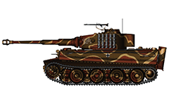 "Vector illustration with side view of heavy German tank  PzKpfw VI Tiger I Ausf. E from WW2 used by SS-Hauptsturmführer Willi Fey in Battle of Normandy, 1944. On turret with digits in white conturs is painted a tactical number ""134"" of the machine. Armored fighting vehicle with zimmerit cover used against magnetically attached anti-tank mines. Color vector drawing with many details. Isolated object over white background."