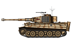 Vector illustration with side view of heavy German tank  PzKpfw VI Tiger I Ausf. E from WW2 in USSR 1944. On turret is painted a Knight on horse with pike.That is insignia of 505th Heavy Panzer Battalion. Armored fighting vehicle with zimmerit cover used against magnetically attached anti-tank mines. Realistic color vector drawing. Isolated object over white background.