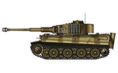 "Vector illustration with side view of heavy German tank Panzerkampfwagen  VI Tiger I late production from WW2 used on Eastern front in USSR, 1944. On turret is painted a tactical number ""132"" with black color and white conturs. That is insignia of 507-th Heavy Panzer Battalion.  The emblem of this tank division is ""a smith"" over black shield painted on front and rear of machine. Armored fighting vehicle with zimmerit cover used against magnetically attached anti-tank mines. Realistic color vector drawing. Isolated object over white background."