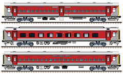 IMPORTANT: EDITORIAL USE ONLY! Vector image in high-resolution with Indian passenger cars- second class general seat coach and sleeper, and first class Air-conditioned 3 tier car. Wagons have red-gray livery of South-East-Central, South-East and East-Central divisions of Indian Railways. Isolated objects over white background.