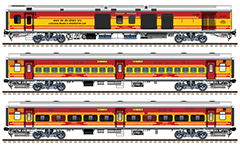 IMPORTANT: EDITORIAL USE ONLY! Vector image in high-resolution 300 DPI with Indian passenger cars second class - general seat coaches in red-yellow livery of Antyodaya express train with route plates Tatanagar - Lokmanya - Tilak-Terminus, Bandra Terminus - Gorakhpur and Ernakulam - Howrah. Isolated objects over white background.