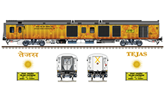 Vector image with side view of Indian railroad coaches Linke Hofmann Busch type. Modern cars First and Second class. EDITORIAL USE