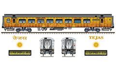 Vector image with side view of Indian passenger cars Linke Hofmann Busch - general seat car second class and 3-tier sleeper. These cars are used in Northern Railway zone of Indian Railways. EDITORIAL USE