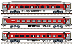 Side view with Indian Air-Conditioned passenger cars Linke-Hofmann-Busch. Coaches of train 12951/12952 - AC 3-tier sleeper, AC hot buffet car and AC 2-tier. Reporting mark WR - Western Railway zone of Indian Railways. EDITORIAL USE