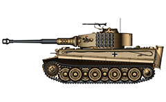 "Vector illustration with side view of heavy German tank PzKpfw VI Tiger I Ausf. E used in Russia 1944. On turret is mounted machine gun MG 34 with stand and there is also painted a ""green"" knight on horse with pike.That is the emblema of 505th heavy panzer battalion fighiting in USSR. The tactical number ""300"" of the tank is painted on the cannon. Armored fighting vehicle with zimmerit cover used against magnetically attached anti-tank mines. Realistic color vector drawing. Isolated object over white background."