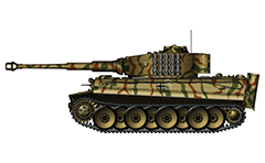 "Vector illustration with side view of German PzKpfw VI Tiger I from the 508th heavy panzer battalion and used by Nazi in Italy trough 1944. The tactical number ""3"" of the tank is painted with a white outline for better camouflage. Armored fighting vehicle with zimmerit cover used against attached anti-tank mines. Precision color drawing with many details. Isolated object over white background."