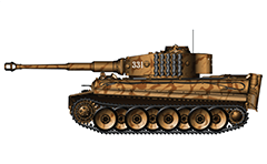 "Vector illustration with side view of German PzKpfw VI Tiger I from the 509th heavy panzer battalion and used by Nazi in USSR during World War II. The tactical number ""331"" of the machine is painted with a Russian patterned template. This battalion does not use Teutonic cross on the side board. Armored fighting vehicle without zimmerit coating and Feifel air filters. On the corners are located single stand launchers for smoke grenades. The tank is destroyed in 1943 near to Kiev. Detailed color drawing. Isolated object over white background."