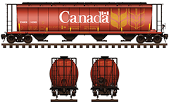 IMPORTANT: EDITORIAL USE ONLY! Vector illustration of railroad car hopper type for carriage of grain cargo on long distances. It has a capacity of 4550 cubic feet. The body of car is all-steel and designed for high-mileage. This model has a four container compartments, with a narrow opening at bottom, for unloading. The shape of interior bay allows unloading by means of gravity. This covered hopper is used like a rolling stock for freight trains in Canada by Canada National railway and serve for transportation of bulk on thousands of miles. Shown are side and front views, with all technical parameters, instructions for safe handling and hand brake. This illustration may be used as a template and easily can change the name of the railway company and the serial number of the car. High-detailed vector drawing. Isolated objects over white background.