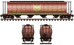 Railroad hopper car with capacity of 5 800 cubic feet for grain transportation. Equipment - four bay container compartments with a narrow opening at bottom for gravity unloading. Reporting mark CNWX - designation of Canadian National Railway company. EDITORIAL USE