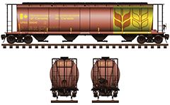"Side and front view of cylindrical hopper car for transport of grain cargo. The shape of interior bay allows unloading by means of gravity. Details - couplers, bogies, stairs, airbrake, ""wheat"" logo and all technical inscriptions in English. Reporting mark - CPWX. EDITORIAL USE"