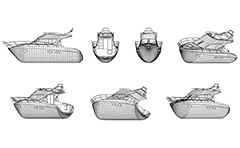 Vector drawing of luxurious and fast modern vessel. The illustration contain wireframe design in orthogonal projections - side, front, back and axonometric view. Isolated objects on white background.
