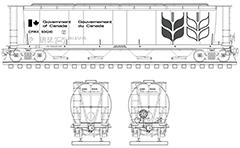 Vector drawing with side and front view of cylindrical hopper used for transport of grain cargo in Canada. High-quality vector sketch with separated layers containing technical parameters, inscriptions, railway tracks, handbrake assembly and logo of the Canadian Wheat Board. EDITORIAL USE ONLY!