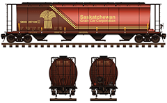 Side and front view of cylindrical railroad covered hopper car for carriage of grain cargo on long distances. Vector illustration with four container compartments with a narrow opening at bottom for unloading, logo, airbrakes, shadows and all technical inscriptions in English. EDITORIAL USE