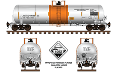 Vector drawing with side and front view of railroad tank car with designation DOT 111 A100W3 by American railways used for transport of crude oil in Northern America. High-quality vector sketch with separated layers containing technical parameters, inscriptions, railway tracks, handbrake assembly and a sign diamond shaped placard with a symbol for flammable liquid and number 1267 for identify car loading type.