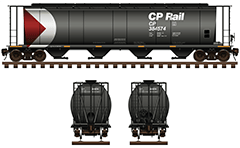 IMPORTANT: EDITORIAL USE ONLY! Vector illustration with side and front view of cylindrical hopper car for carriage of grain cargo on long distances used by Canadian Pacific. The shape of interior bay allows unloading by means of gravity. High quality color drawing with all technical parameters, logo of CPR company, inscriptions, instructions for safe handling, stairs and hand brake. Isolated objects over white background.