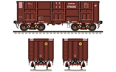 Vector drawing with side and front view of railroad gondola car with designation BOST by Indian Railways for transport of metal and bulk cargo. High-quality vector sketch with separated layers for the elements.