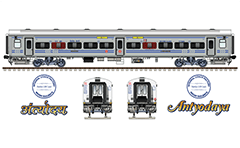 "Vector illustration with side and front view of AC hot buffet car ""Linke Hofmann Busch"" in gray livery used in Indian Railways. Details - CBC ""H"" type tight lock coupler, FIAT bogies, intermediate tank bio toilets, brake equipment, battery box, electrical cubical, ventilation and destination board."