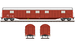 Side and front view of boxcar Gabs type with two loading doors on each side. Reporting mark BDZ - Bulgarian State Railways. Railroad van for transport of packed and bulk materials that were vulnerable by the weather. EDITORIAL USE
