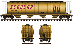 "Side and front view of covered hopper car for transport of grain cargo on long distances. Reporting mark SCOX. Details - all technical parameters, logo ""corn"", inscriptions, instructions for safe handling, stairs and hand brake. EDITORIAL USE"