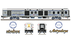 "Vector illustration with side and front view of AC 3 tier car ""Linke Hofmann Busch"" in factory gray livery by Indian Railways. Realistic color drawing with many details - CBC ""H"" type tight lock coupler, FIAT bogies, intermediate tank bio toilets, brake equipment, battery box, electrical cubical, ventilation and destination board. Isolated objects over white background."