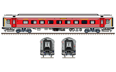 "Vector illustration with side and front view of Air-conditioned chair coach ""Linke Hofmann Busch"" in factory gray livery by Indian Railways. Realistic color drafting with many details - CBC ""H"" type tight lock coupler, FIAT bogies, intermediate tank bio toilets, brake equipment, battery box, electrical cubical, ventilation and destination board. Isolated objects over white background."