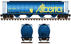 Side and front view with cylindrical covered hopper car in blue paint. Reporting mark ALNX. Details - Alberta and Heritage Fund logo, hand brake, couplers, bays for unloading, all technical inscriptions and instructions for safe handling. EDITORIAL USE