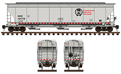 "Side and front view of cylindrical covered hopper car by for carriage of grain cargo on long distances. Reporting mark SOO Pacific Railway - Soo Line Railroad. Details- all technical parameters, ""beaver"" black logo, inscriptions, instructions for safe handling and hand brake. EDITORIAL USE"