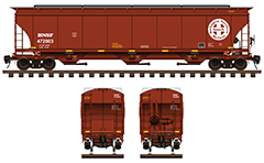 "IMPORTANT: EDITORIAL USE ONLY! Vector illustration with side and front view of cylindrical 3-bay covered hopper car by BNSF Railway for carriage of grain cargo on long distances. High-quality color drawing with all technical parameters, ""cross in circle"" white logo with text, inscriptions, instructions for safe handling and hand brake. Isolated objects over white background."