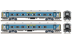 IMPORTANT: EDITORIAL USE ONLY! Vector illustration with side and front view of Indian passenger coach LHB (Linke Hofmann Busch) type in livery blue-gray of Taj Express with yellow route plate used by train from Jhansi Junction to Nizamuddin Railway Station . Realistic color drawing with many details and technical inscriptions. Isolated objects over white background.