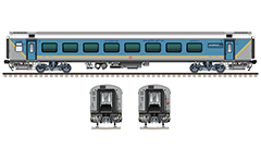IMPORTANT: EDITORIAL USE ONLY! Vector illustration with side and front view of Indian passenger coach Linke Hofmann Busch in blue-gray colors of Gatimaan Express train with route plate Hazrat Nizamuddin - AGC/Agra Cantt . High-quality color drawing with many details and technical inscriptions. Isolated objects over white background.