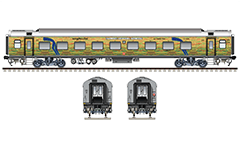 Vector image in high-resolution 300 DPI with Indian passenger coach Linke Hofmann Busch in futuristic livery and basic rolling stock of the Express trains in South Central Railway zone of Indian Railways. EDITORIAL USE