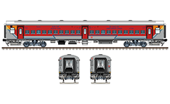 Vector illustration of new rake Linke Hofmann Busch marked with NR - Northern Railway zone of Indian Railways. These cars provide a better travel experience of passengers with additional extras - usage of bio-toilets, mobile charging facility, J hooks near longitudinal luggage racks and pleasing interior. EDITORIAL USE
