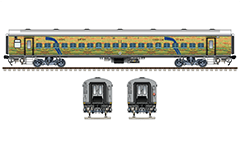 Vector illustration with side and front view of Linke Hofmann Busch chair car marked with NW - North Western Railway zone of Indian Railways. This superfast express train run between Ajmer Junction and Hazrat Nizamuddin in India. EDITORIAL USE