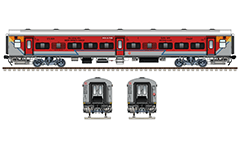 Vector illustration with side and front view of second class Linke Hofmann Busch chair car with reported mark SER - South Eastern Railway zone of Indian Railways. EDITORIAL USE