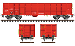 Railway gondola Eaos type in red livery of Bulgarian State Railways. Ordinary open high-sided wagon for transporting of bulk goods, coal, scrap, steel, wood and paper. Construction allows mechanized loading and unloading operations through the use of lifting vehicles. EDITORIAL USE