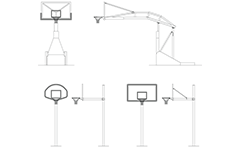 Vector illustration with outdoor basketball stands - front and side views. Diagrams can be used for graphic design, icons and other artworks. Isolated drawings over white background.