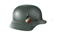 Vector image with side view of steel helmet used by the Nazi soldiers during World War II. Shield insignia with black, white and red decal - colors of the German Empire from 1871 to 1918.