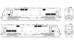 Vector drawing of passenger diesel locomotive P42DC produced by General Electric Genesis and used to serve Amtrak train of the National Railroad Passenger Corporation. This engine is used for medium and long distance intercity trains for carriage of passengers in the contiguous American states.