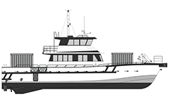 Vector drawing with side view of freight vessel for transport of intermodal containers cargo. White-gray sketch suitable for infographic design.