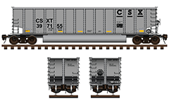 Side and front view of American coal hopper used by CSXT railroad company. Freight car with aluminum body and twin longitudinal tube between the wheelers for unloading ballast cargo. Technical color drawing with all details and shadows. EDITORIAL USE