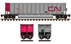 Side and front view of coal hopper used by CN railroad company. Freight car with aluminum body and twin longitudinal tube between the wheelers for unloading of ballast cargo. High-quality illustration with many details, technical inscriptions and shadows. EDITORIAL USE