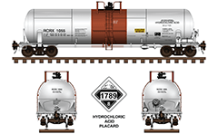 Side and front view of cistern DOT 111A100W-5 for hydrochloric acid. The tank car is ownership of RCR Inc. Color drawing with all inscriptions and white-black placard with number 1789 - Class 8 Corrosive who indicating the transport of dangerous goods and their type. EDITORIAL USE