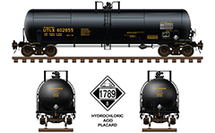 Side and front view of cistern DOT 111 A 100 W-2 for transport of hydrochloric acid. The tank car is ownership of Union Tank Company with railroad reporting mark UTLX. Color drawing with all technical inscriptions and signs for dangerous goods. EDITORIAL USE