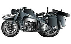 Vector illustration of German military motorcycle Zündapp R75 series with sidecar. 